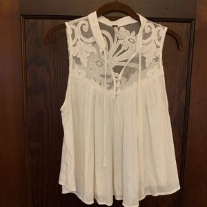 Free People white tank top with mesh detail